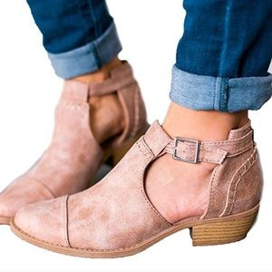 Taupe open buckle booties